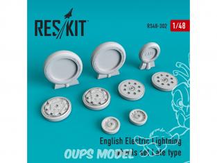 ResKit kit d'amelioration Avion RS48-0302 Roues en résine de type tardif English Electric Lightning 1/48