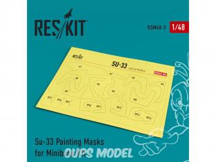 ResKit kit d'amelioration Avion RSM48-0003 Masques de peinture Su-33 pour kit Minibase 1/48