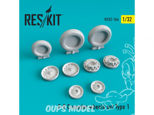ResKit kit d'amelioration Avion RS32-0164 Ensemble de roues F-8 Crusader Type 1 1/32