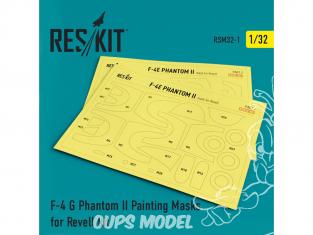 ResKit kit d'amelioration Hélicoptére RSM32-0001 Masques de peinture F-4 G Phantom II pour kit Revell 1/32