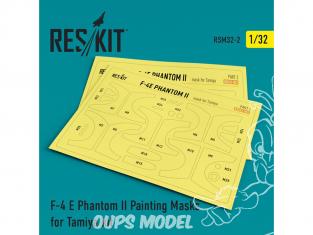 ResKit kit d'amelioration avion RSM32-0002 Masques de peinture F-4 E Phantom II pour kit Tamiya 1/32