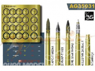Afv Club maquette militaire ag35031 MUNITIONS US 3 inch. Gun - Set de munitions 1/35
