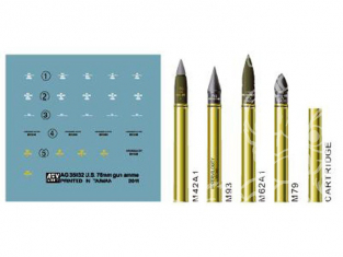 Afv Club maquette militaire ag35032 SET DE MUNITIONS US DE 76mm 1/35