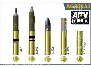Afv Club maquette militaire ag35033 SET DE MUNITIONS US DE 75mm 1/35