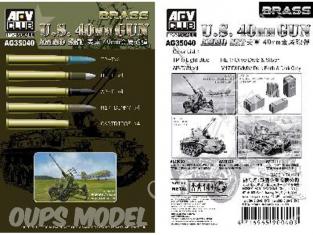 Afv Club maquette militaire ag35040 MUNITIONS DE 40mm pour canons Bofors US 1/35