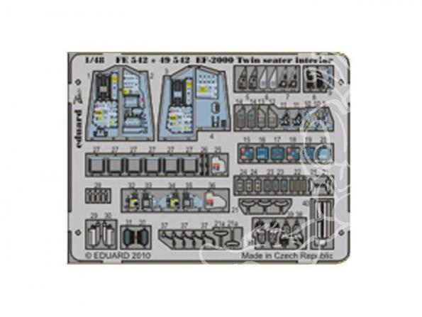 EDUARD photodecoupe avion FE542 Interieur EF 2000 Biplace 1/48
