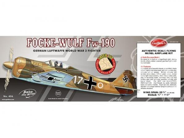 Maquette Guillow&39s avion bois 406 FOCKE WULF FW-190 1/16