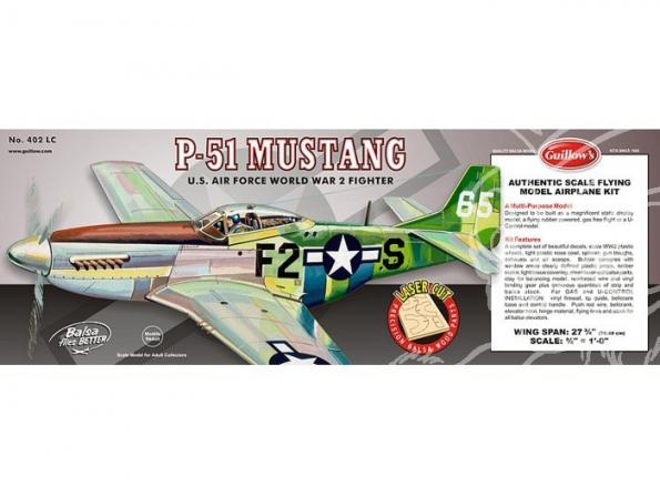 Maquette Guillow&39s avion bois 402 N.A. P-51 MUSTANG 1/16