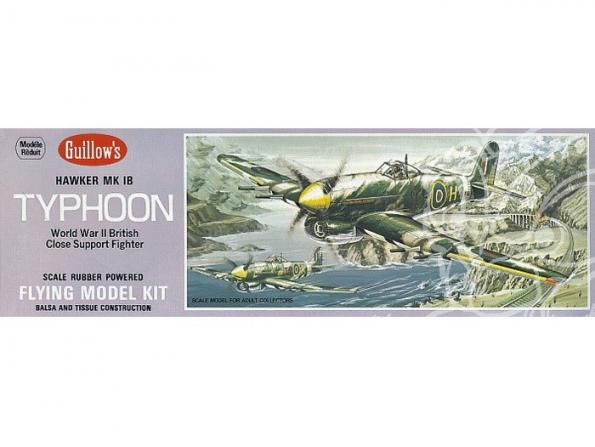 Maquette Guillow&39s avion bois 906 Hawker Typhoon 1/28