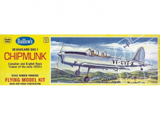 Maquette Guillow&39s avion bois 903 de Havilland Canada DHC-1 Chipmunk 1/24