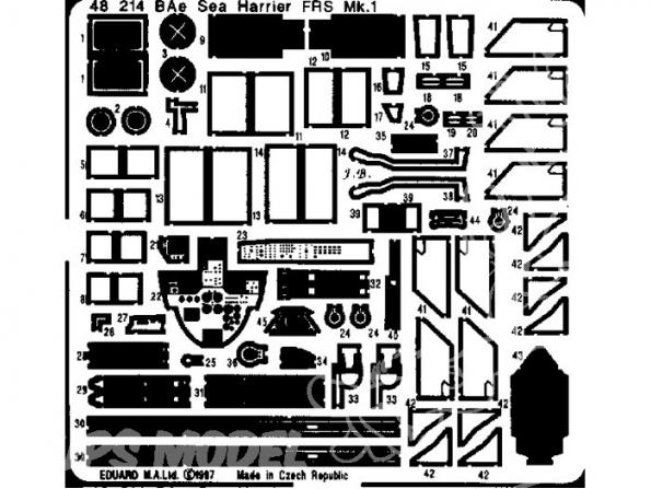 EDUARD photodecoupe avion 48214 Sea harrier FRS.1 1/48