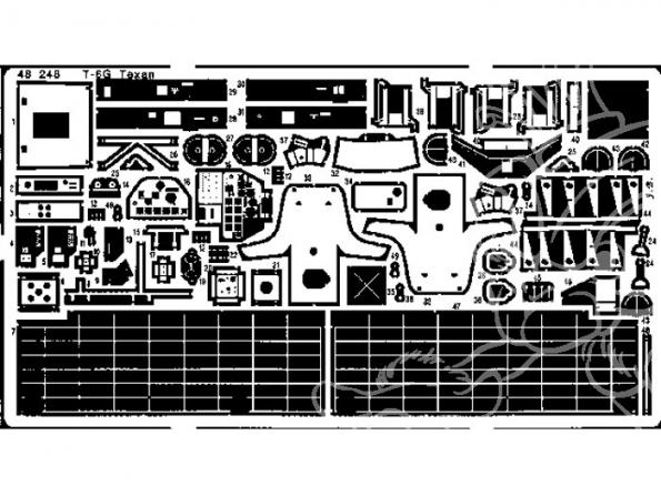 EDUARD photodecoupe avion 48248 T-6G Texan 1/48