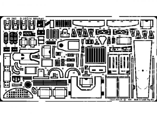 EDUARD photodecoupe avion 48260 B-25G 1/48