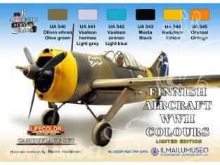 LIFECOLOR peinture XS09 Set Peintures Avions Finlandais