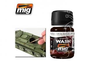 MIG approchez de tres près la réalité 1005 Lavis brun foncé pour véhicules vert (35ml) AK-045