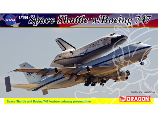 Dragon maquette avion 14705 Space Shuttle avec Boeing 747 et Socle 1/144