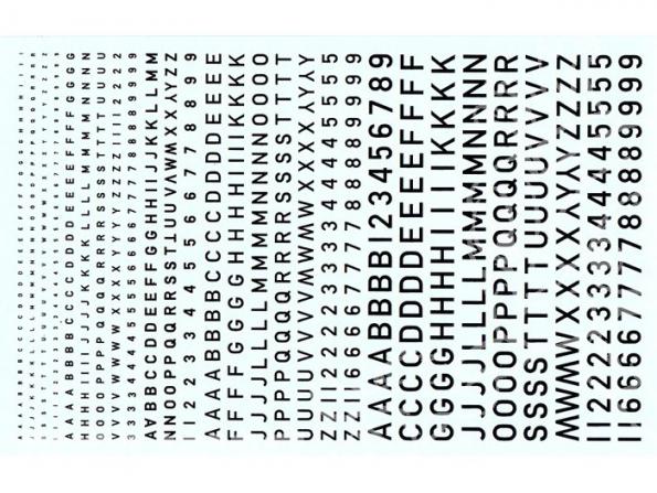 Decalques Berna decals BD-01 Chiffres et lettres identification noir type RAF 1-2-3-4-6mm
