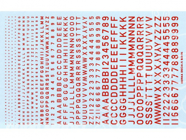 Decalques Berna decals BD-06 Chiffres et lettres identification rouge type RAF 1-2-3-4-6mm