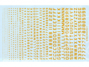 Decalques Berna decals BD-07 Chiffres et lettres identification jaune type 45 1-2-3-4-6mm