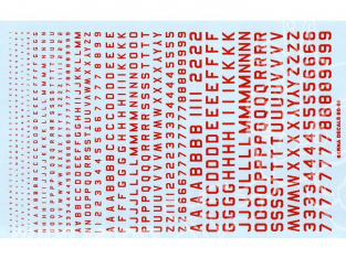 Decalques Berna decals BD-08 Chiffres et lettres identification rouge type 45 1-2-3-4-6mm