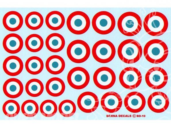 Decalques Berna decals BD-10 Cocardes Francaises 35-40 17-24mm