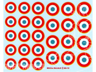Decalques Berna decals BD-12 Cocardes Francaises 43-82 17-22mm