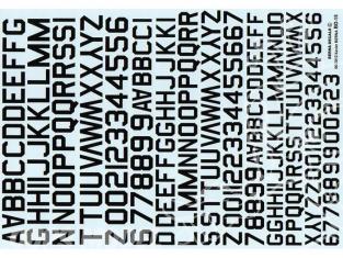 Decalques Berna decals BD-15 Chiffres et lettres identification noir type 45 10-12-14mm
