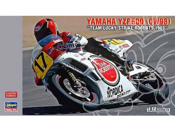 Hasegawa maquette moto 21707 YAMAHA YZR500 OW98 Roberts team lucky strike 1988 1/12