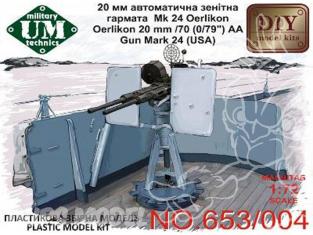 UM maquettes militaire 653/004 CANON ANTI AÉRIEN OERLIKON 20mm/70 Mk.24 (USA) 1/72