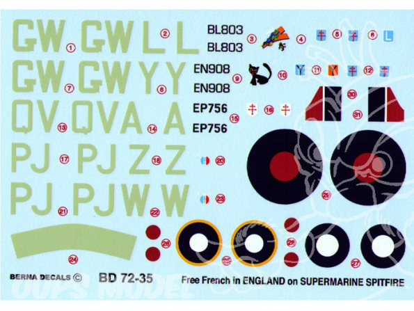 Decalques Berna decals BD72-35 FREE FRENCH ON SPITFIRE 1/72