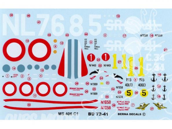 Decalques Berna decals BD72-41 MORANE SAULNIER MS 406 C1 1/72