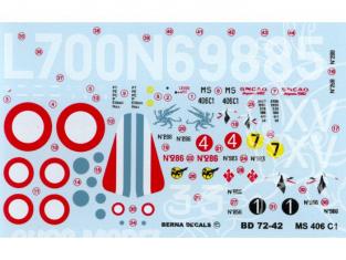 Decalques Berna decals BD72-42 MORANE SAULNIER MS 406 C1 ACES 1/72