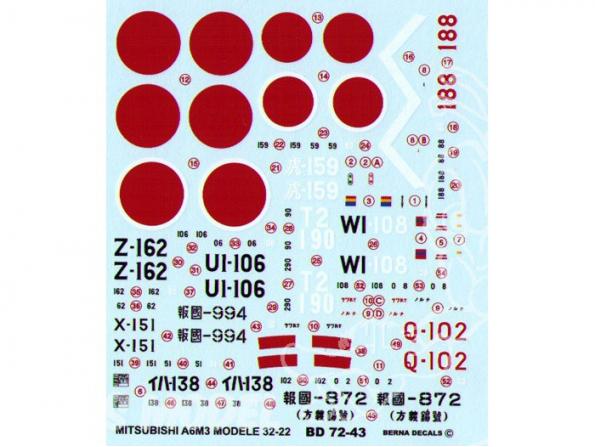 Decalques Berna decals BD72-43 MITSUBISHI ZERO A6M3 HAMP MODELE 32 - 22 1/72
