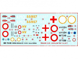 Decalques Berna decals BD72-59 SIKORSKY H-19 / S-55 1/72