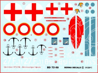 Decalques Berna decals BD72-60 GRUMMAN JRF-5 GOOSE Aeronautique Navale 1/72