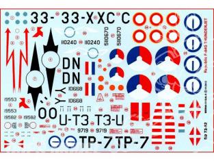 Decalques Berna decals BD72-62 REPUBLIC F-84E & F-84G THUNDERJET 1/72