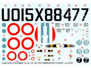 Decalques Berna decals BD72-63 CURTISS H-75 ACES OF GC I/4 1/72