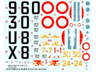 Decalques Berna decals BD72-64 CURTISS H-75 ACES OF GC II/4 1/72