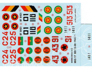 Decalques Berna decals BD72-68 MiG-17 AFRICAN AIR FORCES Partie 1 1/72