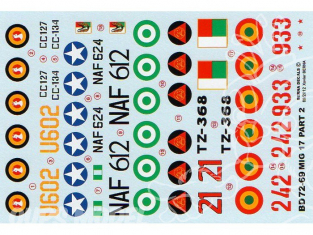Decalques Berna decals BD72-69 MiG-17 AFRICAN AIR FORCES Partie 2 1/72