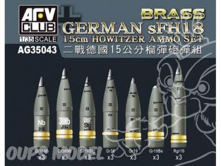Afv Club maquette militaire ag35036 MUNITIONS Pour CANON HOWITZER ALLEMAND SFH18 1/35