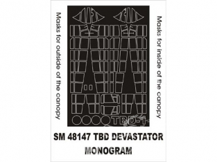 Montex Mini Mask SM48147 Douglas TBD-1 Devastator Monogram 1/48