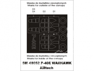 Montex Mini Mask SM48052 Curtiss P-40E Warhawk Amtech 1/48