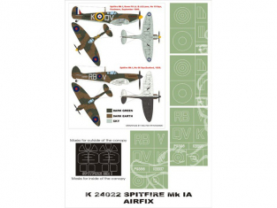 Montex Super Mask K24022 Spitfire Mk.I Airfix 1/24