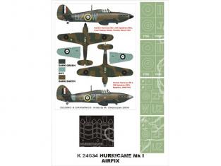 Montex Super Mask K24034 Hurricane Mk I Airfix 1/24