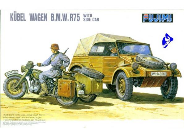 Fujimi maquette militaire 761053 Set Kübel et BMW R75 Side car 1/76