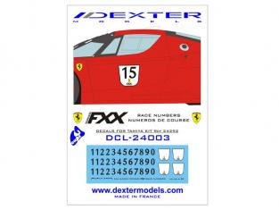 Dexter decalcomanies dcl24003 Ferrari FXX Numéros de course 1/24