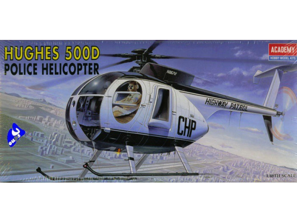 Academy maquettes avion 1643 Hugues 500 Police 1/48