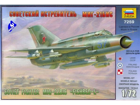 Zvezda maquette avion 7259 Mig-21 Bis Lazur 1/72