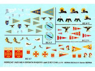 Decalques Berna decals BD72-84 Sepecat Jaguar Badges Français A et E part 2 1/72